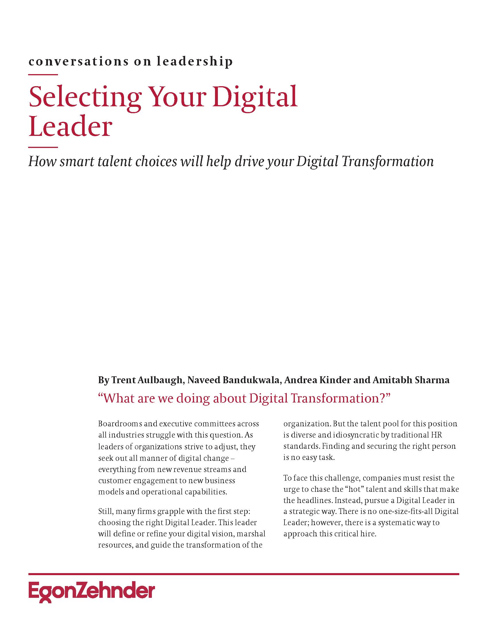 Selecting Your Digital Leader - Egon Zehnder