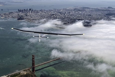 Solar Impulse, as it glided over San Francisco in preparation for the cross-country flight in 2013.